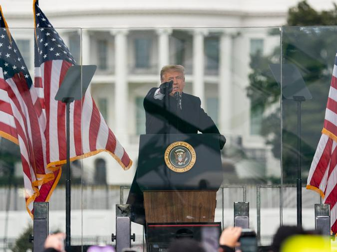 In this Jan. 6, 2021, file photo President Donald Trump speaks during a rally protesting the electoral college certification of Joe Biden as President in Washington