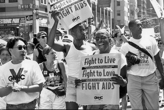 GMHC volunteers and activists march in NYC Pride, 1994.