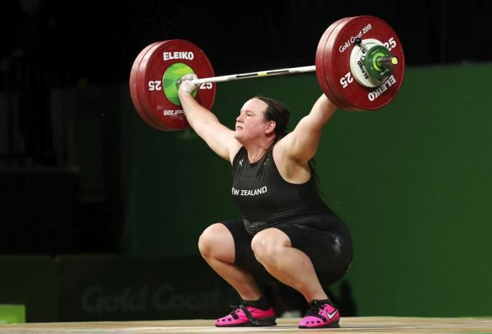 New Zealand's Laurel Hubbard lifts in the snatch of the women's +90kg weightlifting final at the 2018 Commonwealth Games on the Gold Coast, Australia.