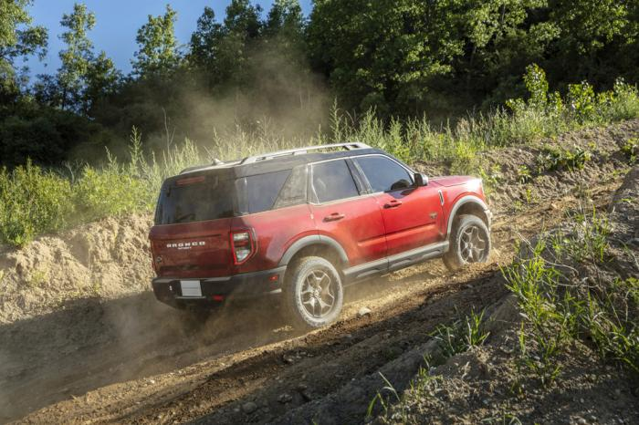 This photo from Ford shows the 2021 Ford Bronco Sport, a compact SUV that uses boxy proportions and standard four-wheel drive to tackle off-road terrain