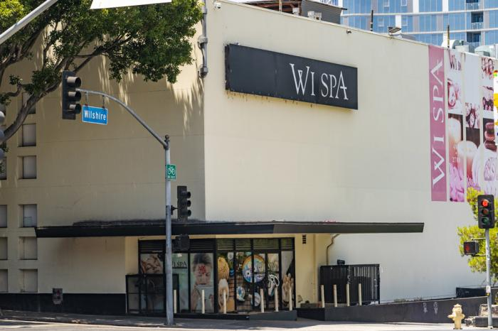 This July 4, 2021, photo, shows the exterior of the Wi Spa in Koreatown district in Los Angeles