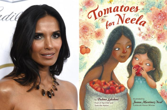 """Padma Lakshmi appears at the Producers Guild Awards in Beverly Hills, Calif., on Jan. 19, 2019, left, and cover art for """"Tomatoes for Neela,"""" a children's book written by Lakshmi, with illustrations by Juana Martinez-Neal."""